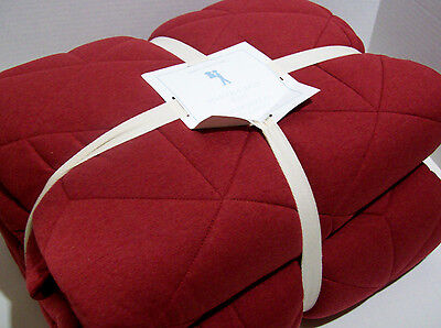 Pottery Barn Kids Red Heather Ed Jersey Full Queen Quilt Two Standard Shams New