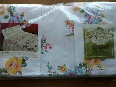 Vintage Lady Pepperell Flat Sheet w/ Pillowcases Fine Muslin Roses Shabby MIP