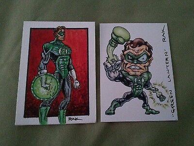 GREEN LANTERN HAND DRAWN COLOUR SKETCH CARD BY RAK DC COMICS PSC