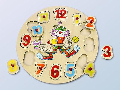 Lernuhr~Kinder Uhr~lernen~Puzzle~Lernspiel~Holz~Holzuhr~Spiel~Zahlen~neu~