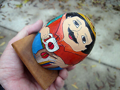Tarrali Folk Primitive Coffee Man Hand Painted Shell Pencil / Toothbrush Holder