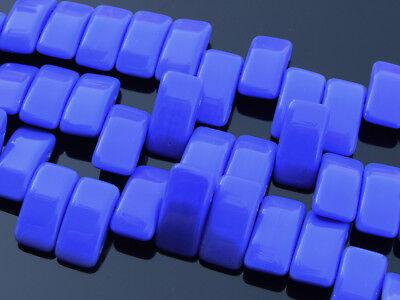 15x Czech Carrier Glass Beads Twin Hole Beads 9x17mm Blue