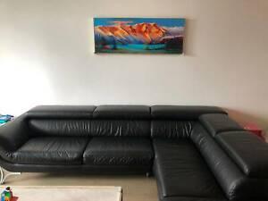 Free L shape Italian made leather sofa