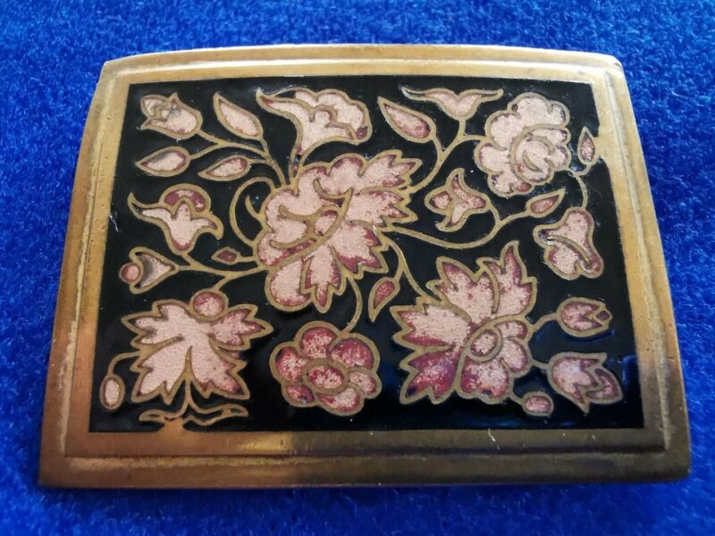 Stunning Antique French art nouveau floral enamel brooch