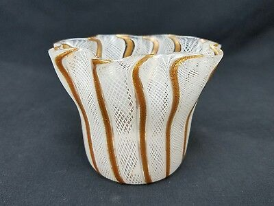 Murano Venini Latticino Art Glass Vtg White Goldstone Handkerchief Vase