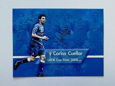 "Carlos Cuellar signed 16x12"" Rangers Uefa Cup Final photo / COA"