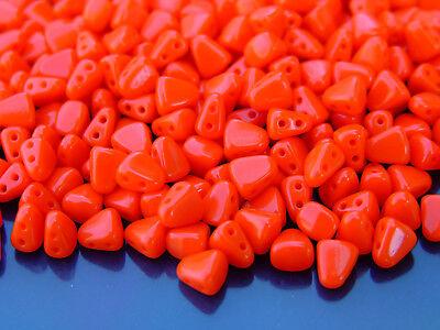 10g Czech Nib - Bit Twin Hole Beads 6x5mm Opaque Light Red