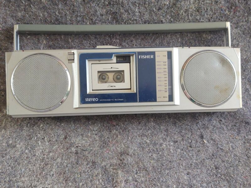 FISHER PHM88 am/fm mini boom box w/ removable PHM85 MICROCASSETTE Recorder works