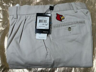 adidas Pleated Stretch Twill Pants with Louisville Cardinals Emblem