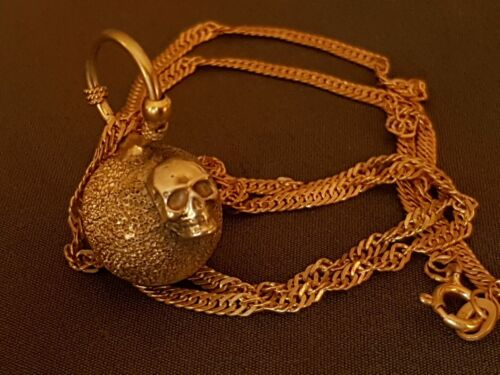 AMAZING GOLD PLATED Vintage MEMENTO MORI skull SILVER necklace pendant medallion
