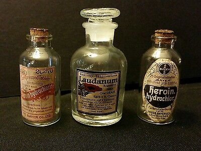 3 Vintage Style 2 Heroin, & 1 Laudanum Glass Bottles Handcrafted by Artist