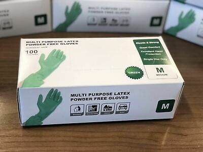 Latex Gloves Count Green Powder Free General Purpose Medium 100pcs Fast Shipping