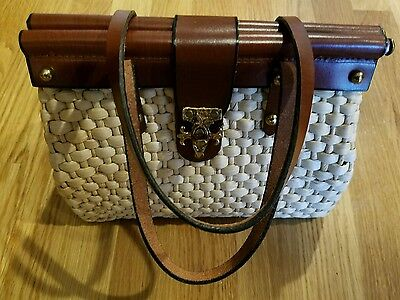 Vintage Burlington straw purse with brown leather strap and metal clasp