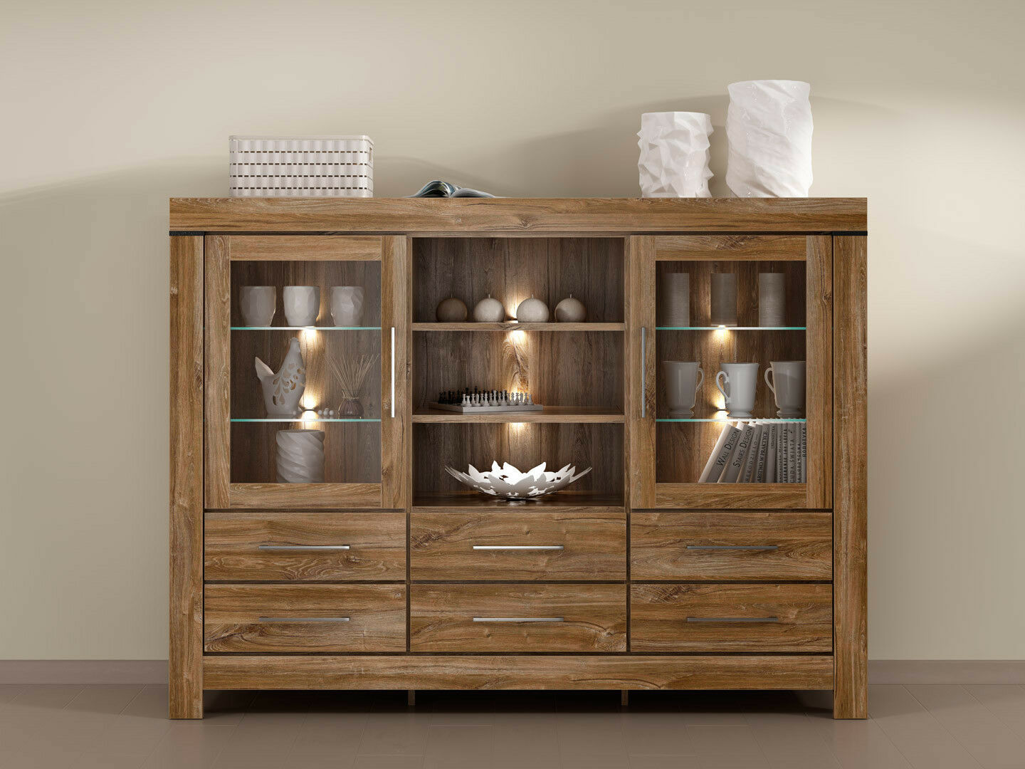 Extra Large Oak Effect Sideboard Dresser Display Glass