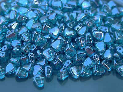 10g Czech Nib - Bit Twin Hole Beads 6x5mm Luster Transparent Blue