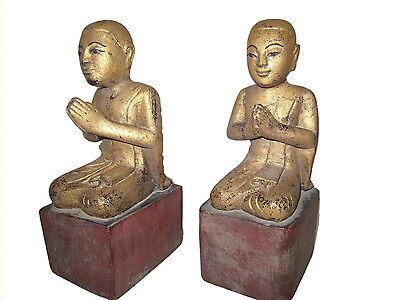 Burmese wooden Disciples 19th century Myanmar Burma