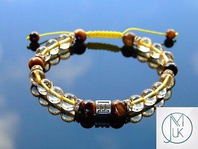 Citrine Tigers Eye Bracelet - Gemini Citrine Tigers Eye Birthstone Bracelet 6-9'' Macrame Healing Stone Reiki