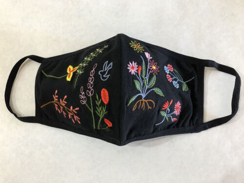 3 pack Medium Spring Embroidered Black Face Mask Unisex Cotton Washable w/ strap