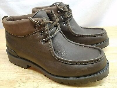 Mens Size 8 Nautica Leather Brown Ankle Boots 6 Eyelet Style