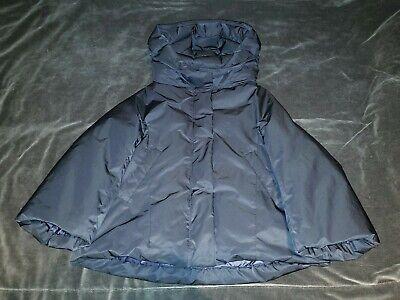 Jil Sander +J UNIQLO Women XS down Puffer Jacket Hooded 3/4 Sleeves Dark Blue