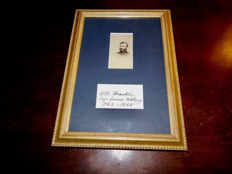 Framed CDV And Signature Civil War General W.B. Franklin