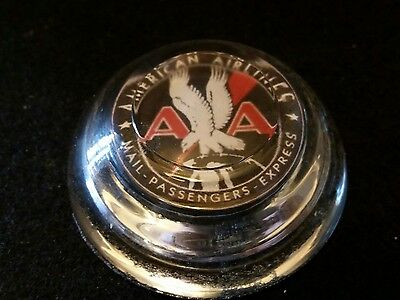 Vintage Style American Airlines Glass Paperweight   Nice Handcrafted By Artist