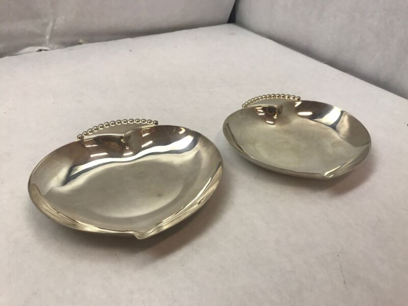 SET OF TWO Small Silverplate HEART SHAPED Candy Dish THREE CROWN SILVERSMITHS