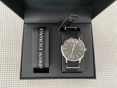 Armani Exchange AX7111 Men's Canvas 42mm Watch and Bracelet Gift (Armani And Exchange)