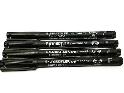 Staedtler Lumocolor Permanent Pen 318-9 Black Fine 4 Each New
