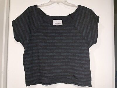"""AEROPOSTALE EIGHTY-SEVEN"" LADIES GRAY STRIPED CROPPED SWEATSHIRT (LARGE)"