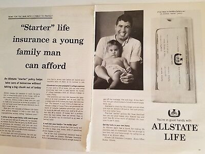 1964 Allstate Starter Life Insurance Young Family Man Can Afford Policy Ad