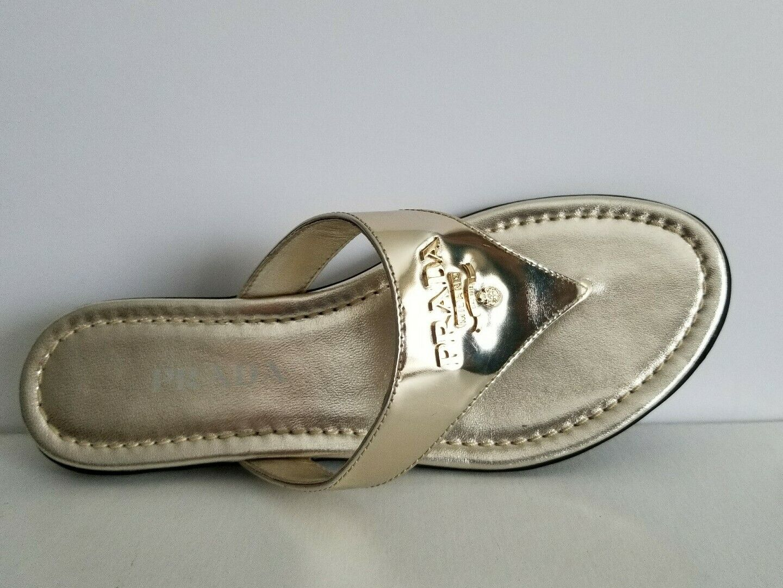 PRADA MILANO Metallic Leather Logo Thongs Slides Sandals EU 365 I LOVE SHOES