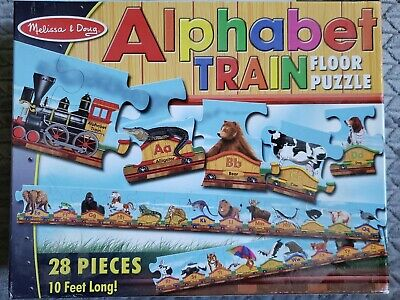 MELISSA & DOUG Alphabet Train FLOOR PUZZLE 28 Pc 10 Ft # 424 - Great Cond