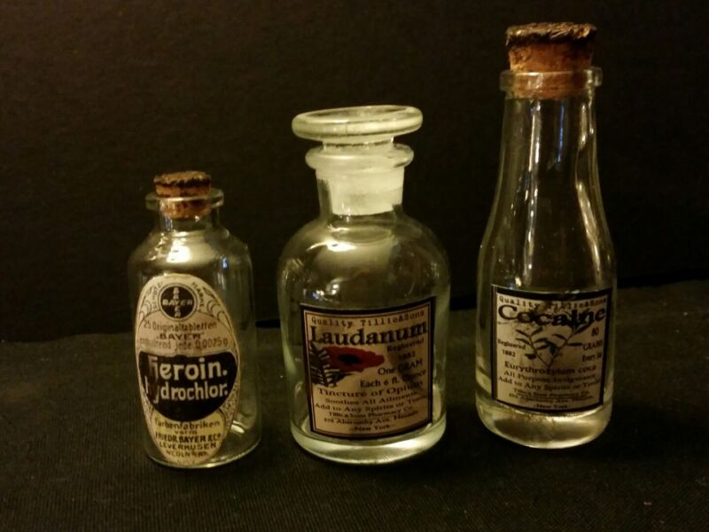 3 Vintage Style Heroin, Cocaine & Laudanum Glass Medicine Bottles by Artist