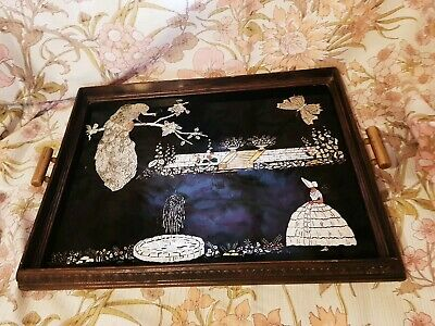 Crinoline Lady Wooden Foil Glazed Tea Tray 49cm x 37 cm Beautiful Vintage