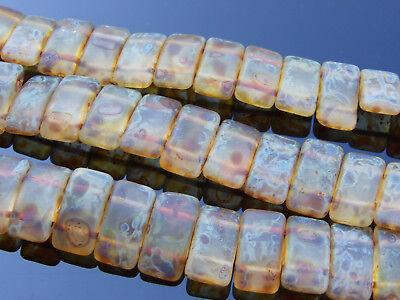 15x Czech Carrier Glass Beads Twin Hole Beads 9x17mm Travertine