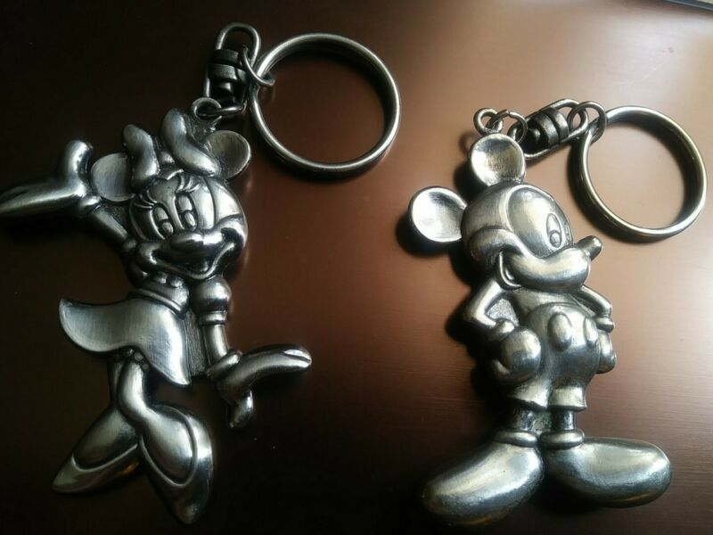 Vintage Mickey Mouse & Minnie Mouse Disney Metal Keychains - Early 1990s