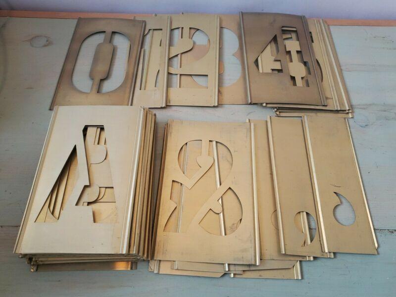 "Interlocking Adjustable Brass Stencil Set Marking 4"" Letter Numbers General"