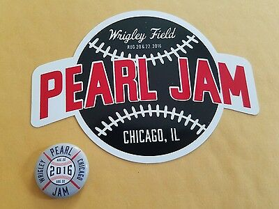 PEARL JAM Baseball Sticker and Pin set Wrigley Field Chicago Cubs 2016 New