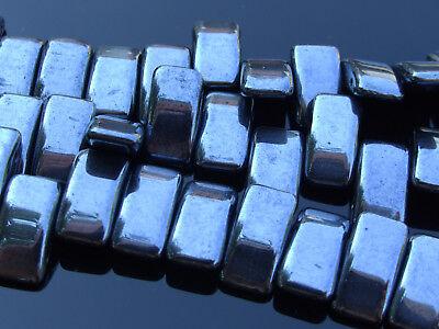 15x Czech Carrier Glass Beads Twin Hole Beads 9x17mm Gunmetal