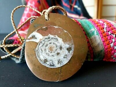 Old Stone Fossil Pendant Necklace on Braded Adjustable Cord …beautiful collectio