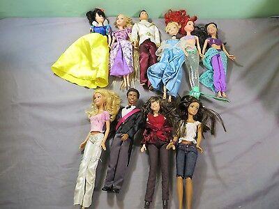 Mattel Barbie Disney & Other Doll Lot Ariel Cinderella Snow White Lot of 10