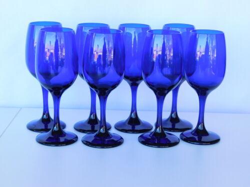 Vintage Libbey Glass Premier Cobalt Blue 8 Wine Goblets Tulip Shaped EUC