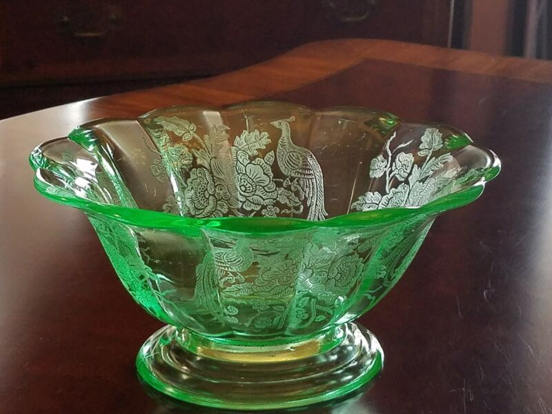 """Green PADEN CITY  PEACOCK AND WILD ROSE oval bowl 8 1/2"""""""