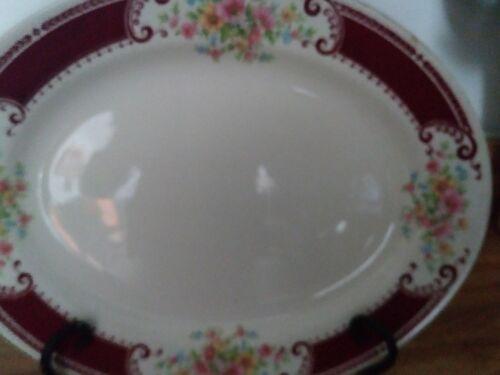 Vintage Homer Laughlin burgundy floral Brittany 1940's B 1315 oval platter