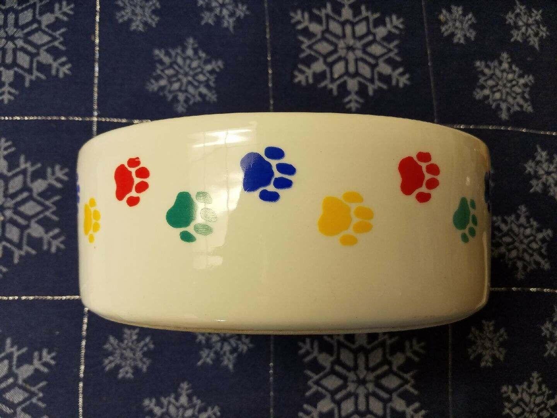 """Paw Print Pet Food Water Dog Bowl Dish White Porcelain 9"""" x 3"""