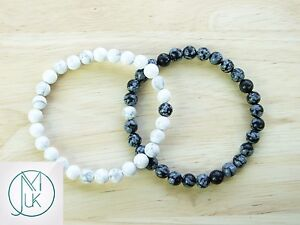 Couple Snowflake/Howlite Natural Gemstone Bracelet 7-8'' Elasticated Healing