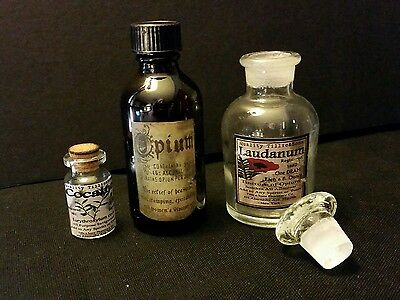 3 Vintage Style Opium  + Cocaine & Laudanum Glass Bottles Handcrafted by Artist