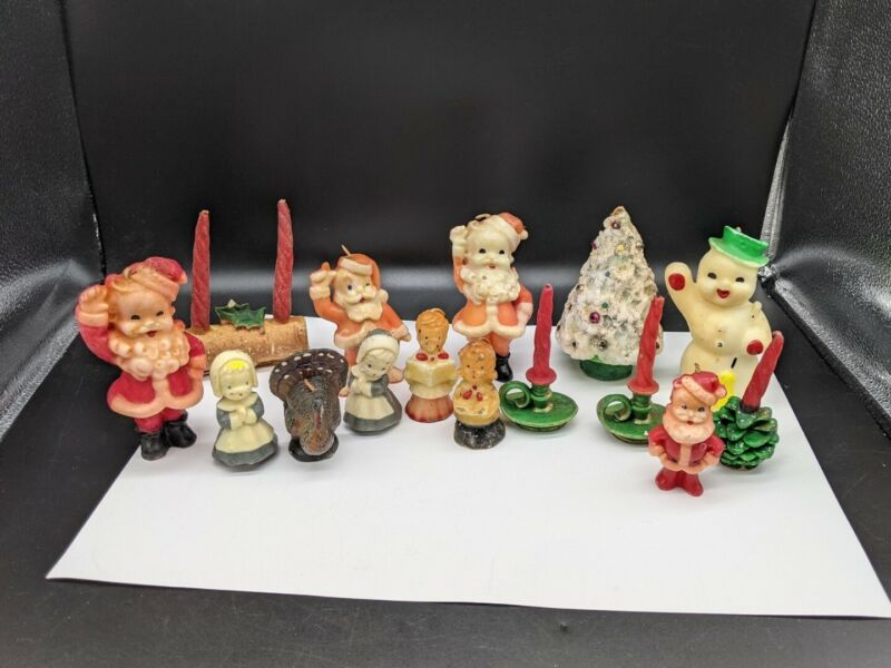 Vintage Lot of  Gurley Christmas Candles. Trees Santa and Snowmen Thanksgiving