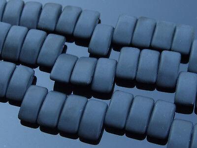 15x Czech Carrier Glass Beads Twin Hole Beads 9x17mm Jet Matte